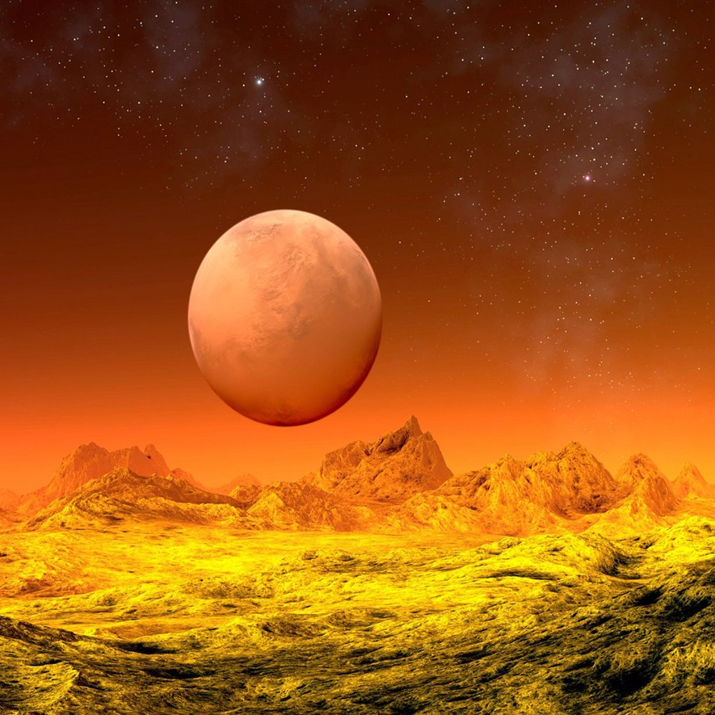 Stock Photo: 4128R-21172 Alien planet, artwork