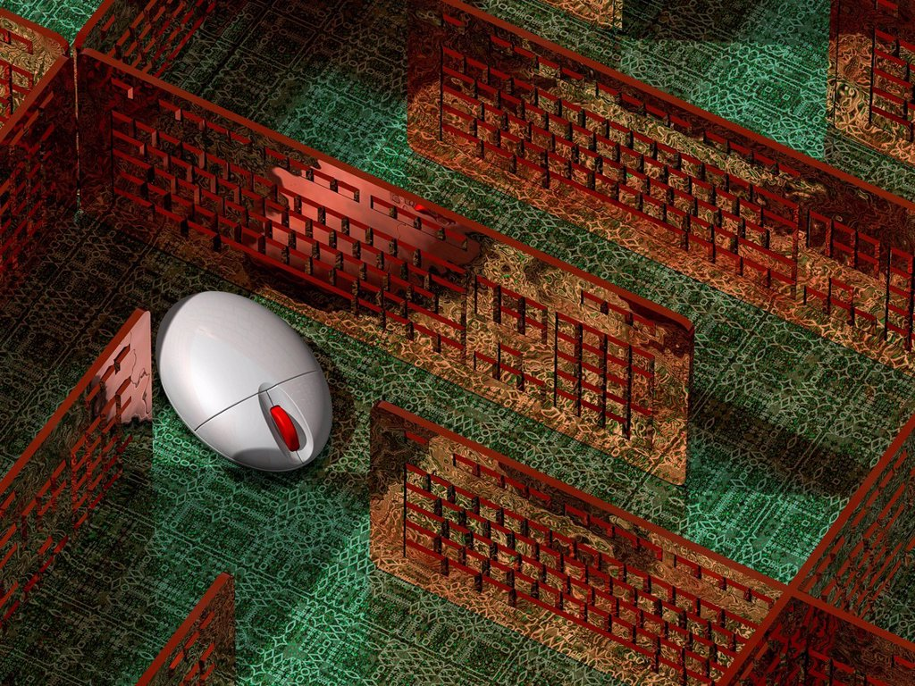 Stock Photo: 4128R-21225 Computer mouse in a maze, artwork