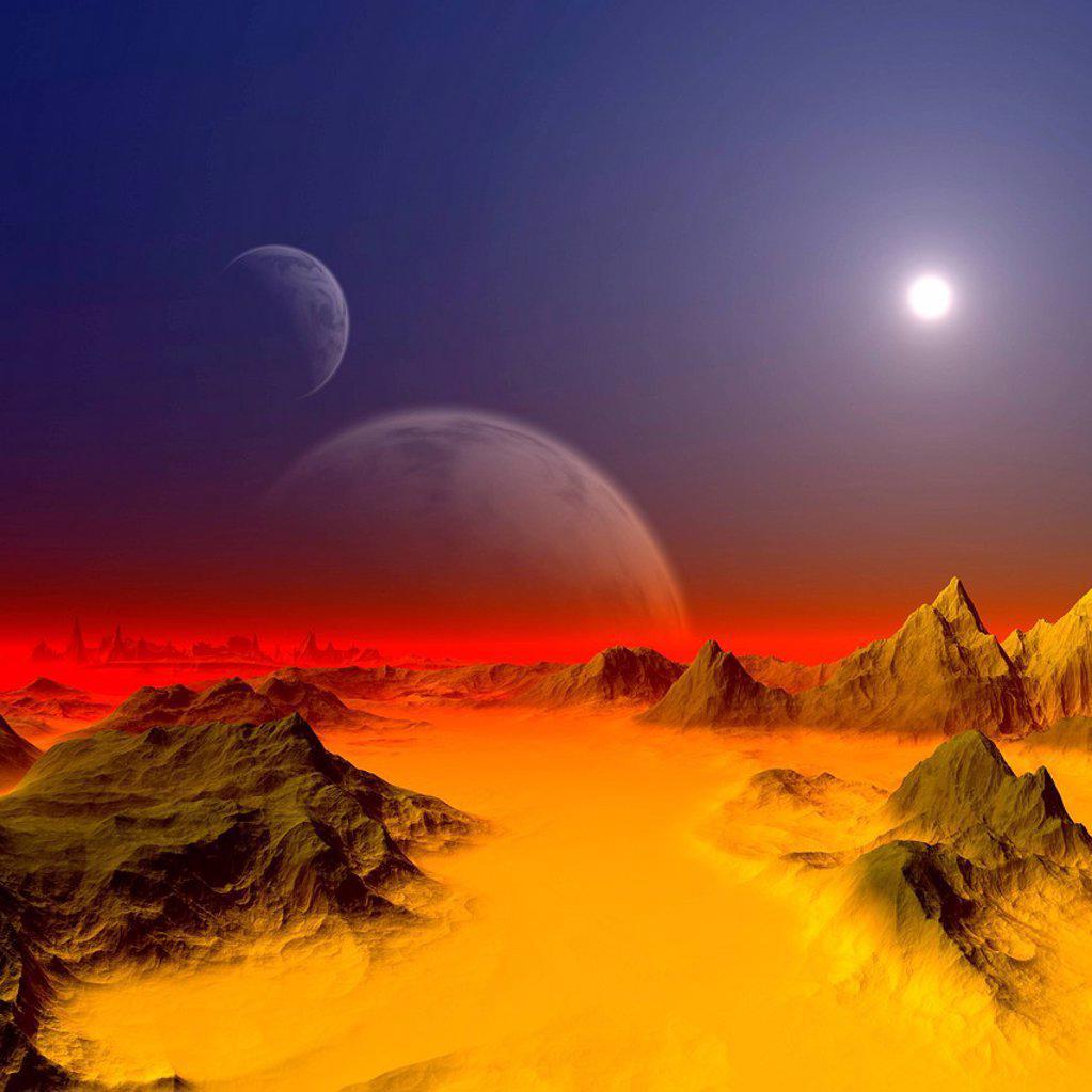 Stock Photo: 4128R-21227 Alien planet, artwork