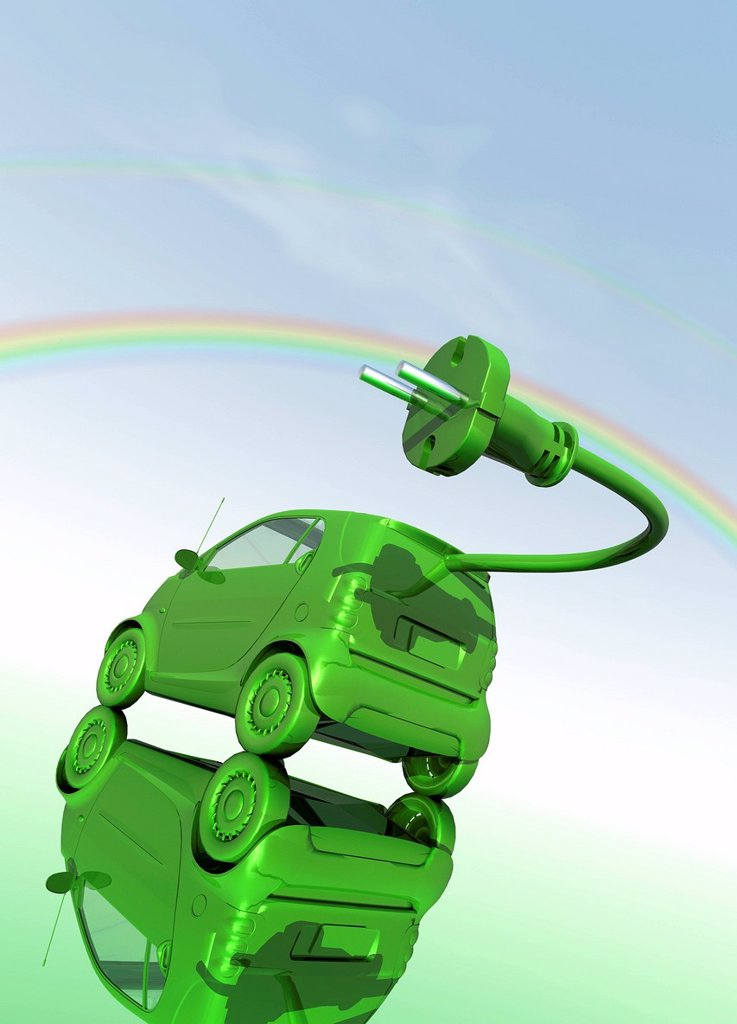 Stock Photo: 4128R-21243 Electric car, conceptual artwork