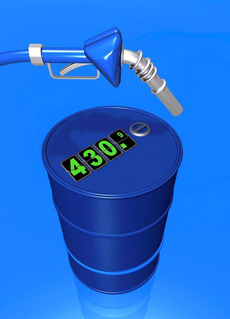 Stock Photo: 4128R-21244 Price of oil, conceptual artwork