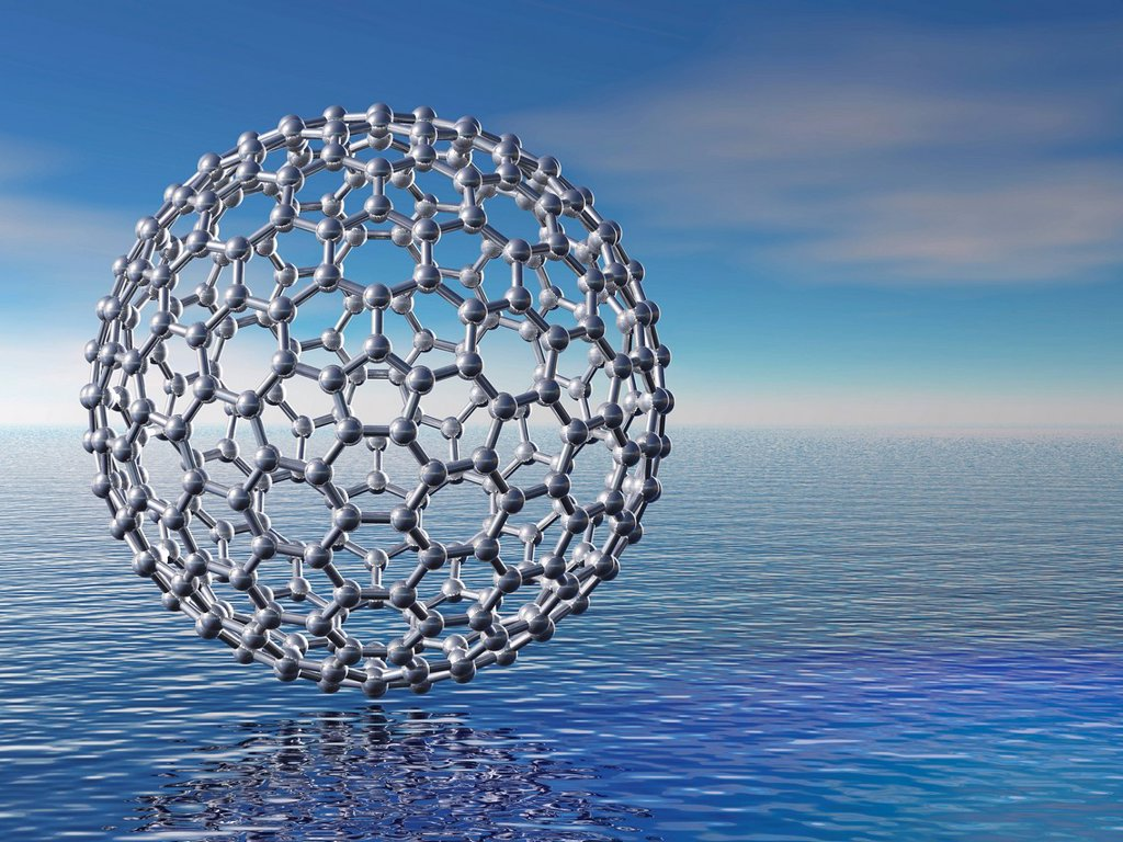 Stock Photo: 4128R-21272 Buckyball molecule, artwork