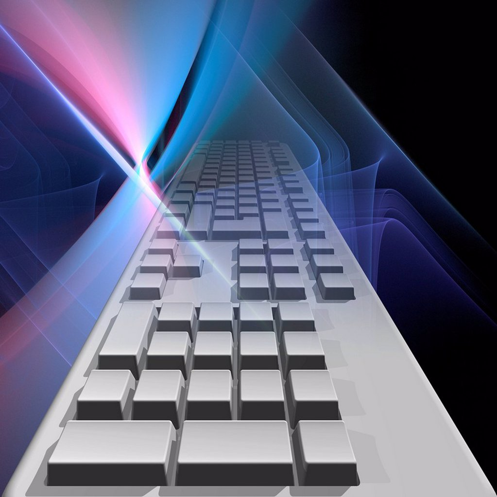Computer keyboard, artwork : Stock Photo
