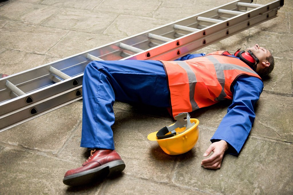 Stock Photo: 4128R-23274 MODEL RELEASED. Work place accident.