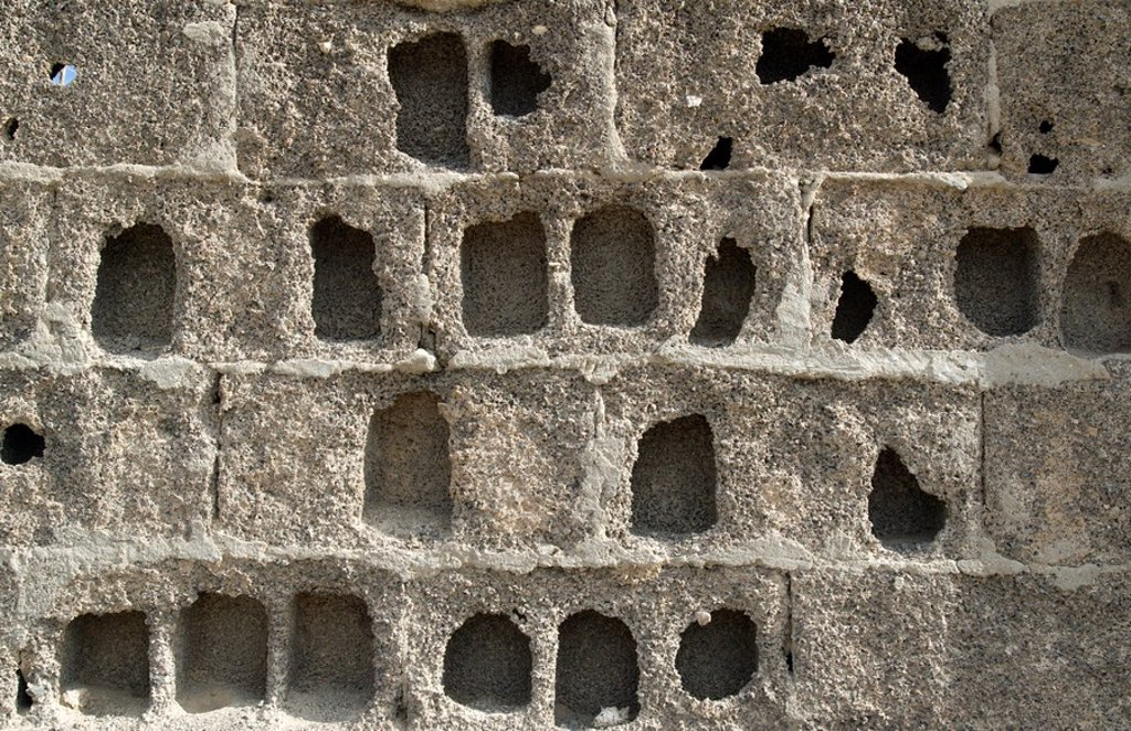 Stock Photo: 4128R-6041 Eroded block wall
