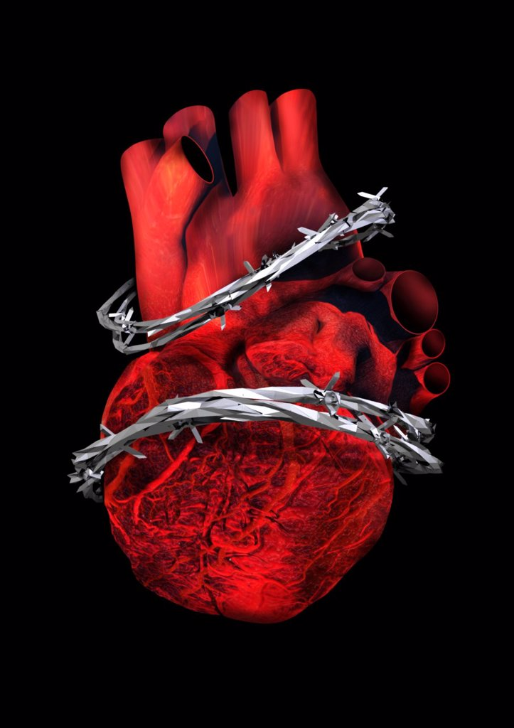 Heart disease, conceptual artwork : Stock Photo