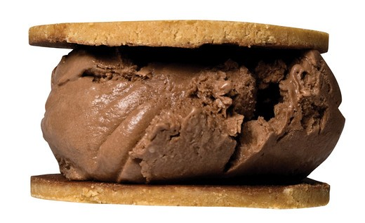 Stock Photo: 4130R-123 Close up of ice cream sandwich with peanut butter