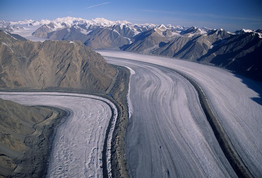 kaskawulsh meeting southern arm glaciers, st elias mountains. kluane national park, yukon, canada. aerial view.  : Stock Photo