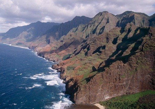 Stock Photo: 4141-13790 north na pali coast island of kauai, hawaii, usa