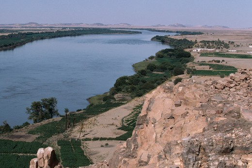 Stock Photo: 4141-16817 agriculture & nubian houses along river nile. karma, sudan.