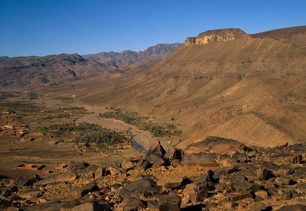 berber settlement in the fertile valley of oued hanedour, jebel sahro, morocco.  : Stock Photo