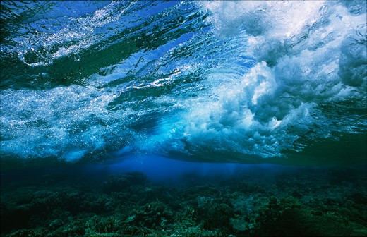 Stock Photo: 4141-17430 wave breaking on coral reef top underwater view gulf of suez, egypt, red sea