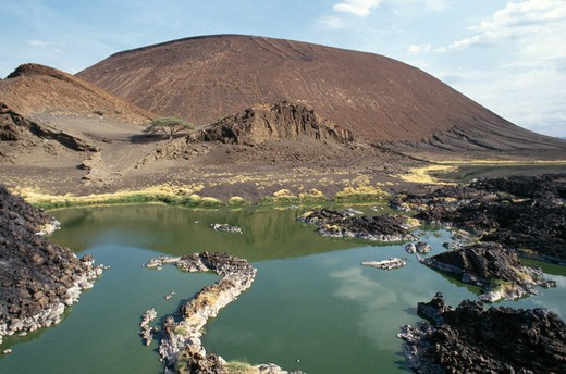 Stock Photo: 4141-18550 soda pools & volcanic formations nubyatom, lake turkana, kenya, eastern africa