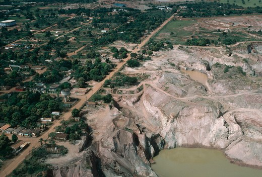 open-cast gold mine aerial view causing destruction of the habitat pocone, mato grosso, brazil : Stock Photo