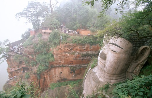 Stock Photo: 4141-19299 le shan buddha largest seated buddha in world sichuan, china