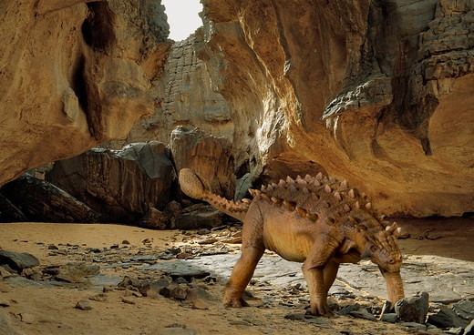 Stock Photo: 4141-23731 digital composite of an adult saichania chulsanensis, a quadrupedal ornitischian plant-eating dinosaur from the late cretaceous, slowly crossing a rocky desert canyon in what is today the state of mongolia.