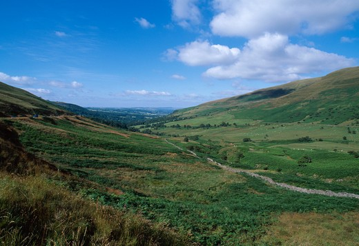 Stock Photo: 4141-25264 shallow valley brecon beacons national park, powys, southern wales