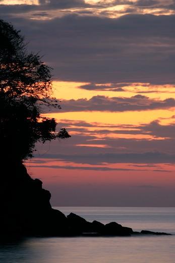 espadilla beach sunset manuel antonio national park, costa rica.  : Stock Photo