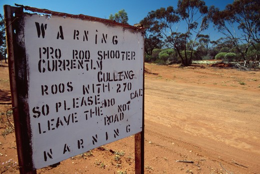 Stock Photo: 4141-31882 kangaroo cull warning sign western australia