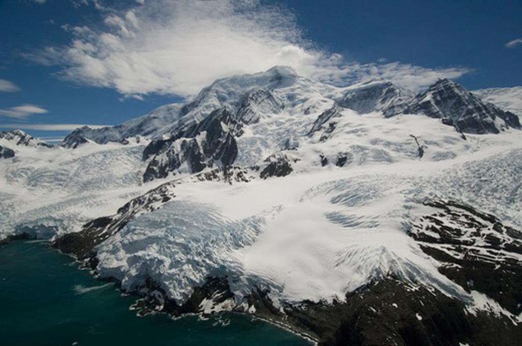 mt. paget (2934m) highest peak on island south georgia island, sub-antarctic, atlantic ocean. : Stock Photo