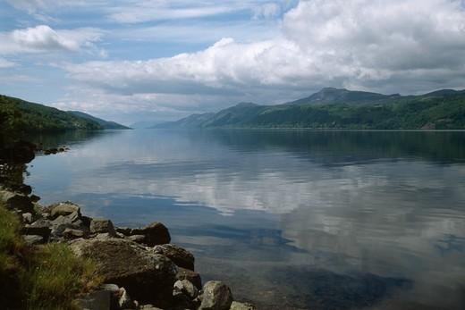 loch ness looking south-west from the east bank, near inverfarigaig highland region, scotland june : Stock Photo