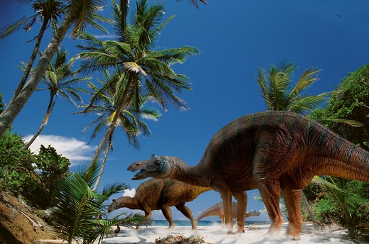 Stock Photo: 4141-37526 digital composite of a herd of maisaura peeblesaurum, a large duck-billed hadrosaurid dinosaur from the late cretaceous period, foraging on a beach in what is today the state of montana in the usa. date: 18.11.2008 ref: zb377_124722_0034 compulsory credit: nhpa/photoshot