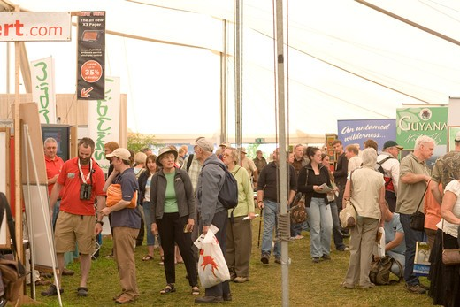 Stock Photo: 4141-38849 british bird watching fair 2009 interior of travel marquee, rutland, lincoln.