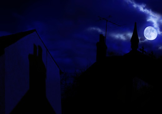 Stock Photo: 4141-40041 rooftops by moonlight, composite image