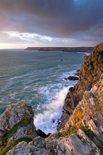 Stock Photo: 4141-40665 the lizard, sunset form the cliffs, cornwall