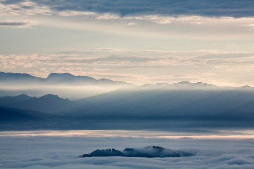 Stock Photo: 4141-41040 dawn over mist shrouded ljubljana basin looking towards kamnik alps, tehovec, slovenia date: 06.11.2008 ref: zb812_123820_0017 compulsory credit: nhpa/photoshot