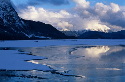 Stock Photo: 4141-41199 chilkat river after fresh snow. tongass national forest, near haines, alaska.