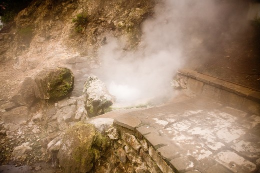 Stock Photo: 4141-44417 fumaroles - boiling water from cauldron. note steps stop short due to change in location of blowhole furnas, san miguel, azores date: 15.10.2008 ref: zb869_126376_0057 compulsory credit: nhpa/photoshot