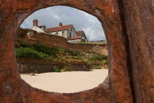 coastal erosian happisburgh norfolk uk may : Stock Photo