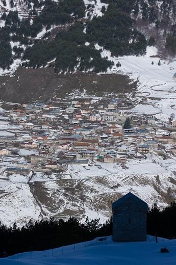 kazbegi village within the great caucasus mountains georgia april : Stock Photo