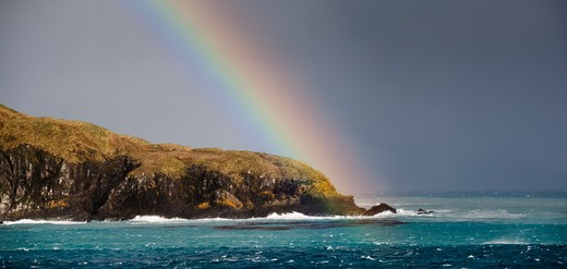 Stock Photo: 4141-50924 Rainbow Over Fortuna Bay, South Georgia, South Atlantic.