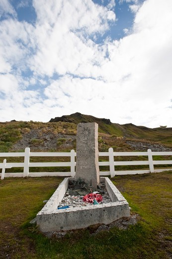 Stock Photo: 4141-50933 Ernest Shakleton'S Grave. Grave Yard, Grytviken, South Georgia, South Atlantic.