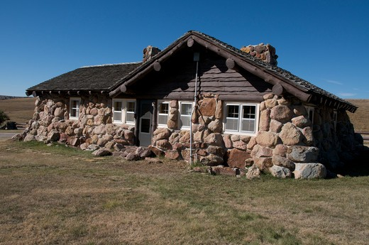 Stock Photo: 4141-51180 Visitor Center Made From Large Rocks In Custer State Park, South Dakota, Usa.