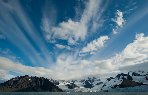 Stock Photo: 4141-5249 clouds above weddell glacier, gold harbor, south georgia island.