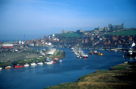 Whitby Harbour And Abbey, North Yorkshire, England : Stock Photo