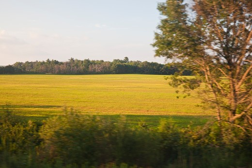 Passing Farm Field In Wisconsin, Viewed From The Amtrak Empire Builder Train, Usa, Empire_Builder-88 : Stock Photo