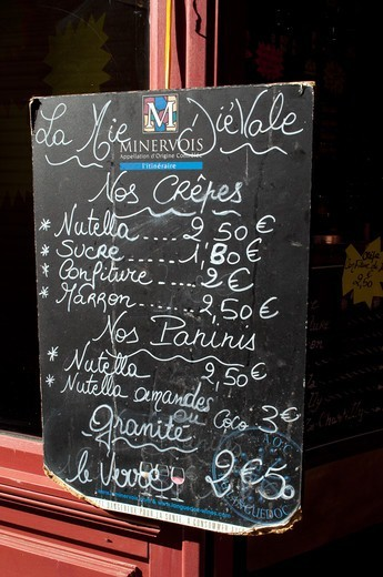 Menu Outside Restaurant Within Fortified Town Of Carcassonne Aude France : Stock Photo