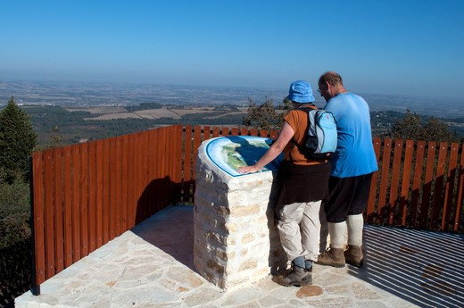 Stock Photo: 4141-59828 Hikers Looking At Map Near Labecede Lauragais Aude Pyrenees;France