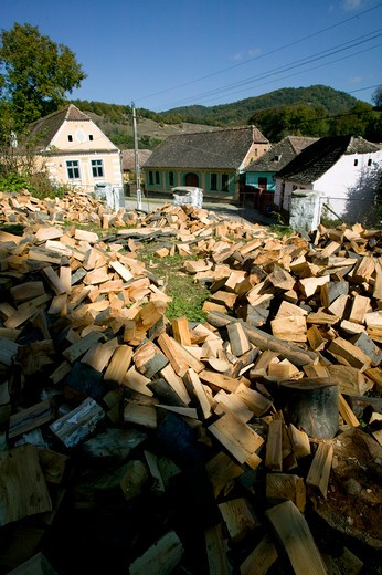 Stock Photo: 4141-60462 Product Of Traditional Woodland Management -Firewood For The Community, Saxon Part Of Transylvania, Romania