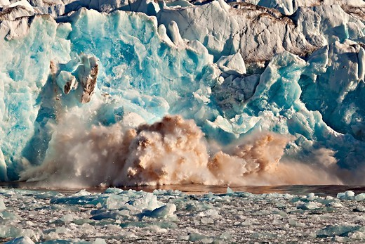 Stock Photo: 4141-63540 Longsfjorden Glacier Collapsing Into The Sea, Svalbard, Norway