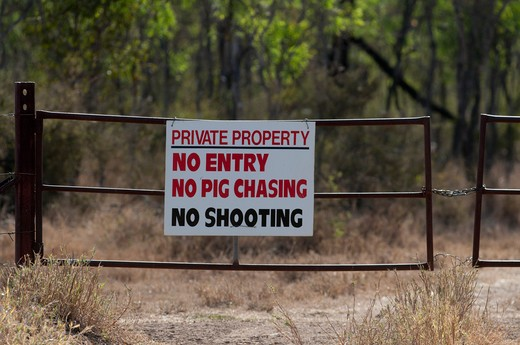 Stock Photo: 4141-64821 Private Property And No Shooting Sign Near Charter Towers Australia