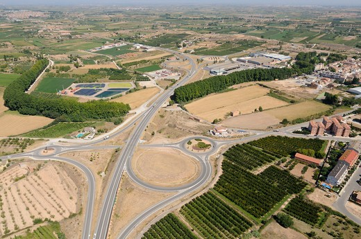 Stock Photo: 4141-65074 Crossroads With Some Roundabouts Near Les Borges Blanques. Lleida, Catalonia. Spain.