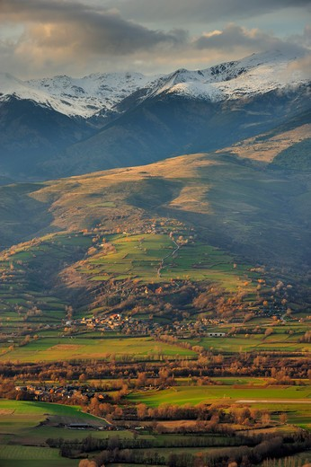 Stock Photo: 4141-65151 Cerdanya Plain & Puigpedros Peak (2.914 M). Pyrenees, Catalonia. Spain
