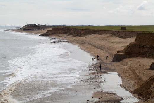 Stock Photo: 4141-66865 Walkers and dog on Happisburgh beach. Norfolk. Tide encroaches and will continue to progressively erode the cliffs.