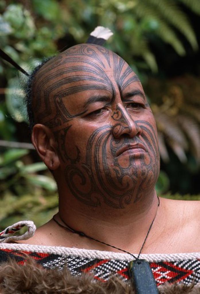 Authentic Maori Tattoo: Maori With Traditional Facial Tattoo (moko) And Authentic