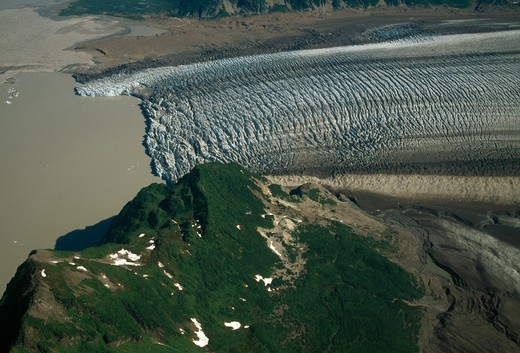 inland glacier (aerial view) near cordova, chugach national forest, south east alaska,  : Stock Photo